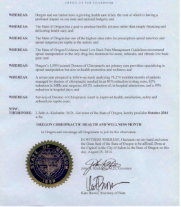 Oregon Chiropractic Health and Wellness Month